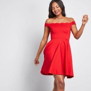 Modcloth Forever Fave Red Off-Shoulder Dress Large
